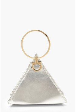 Womens Silver Triangle Ring Handle Clutch Bag