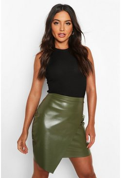 Womens Khaki Wrap Front Leather Look Mini Skirt