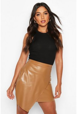 Wrap Front Leather Look Mini Skirt, Taupe