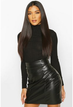 Leather Look Seam Front Mini Skirt, Black, Donna