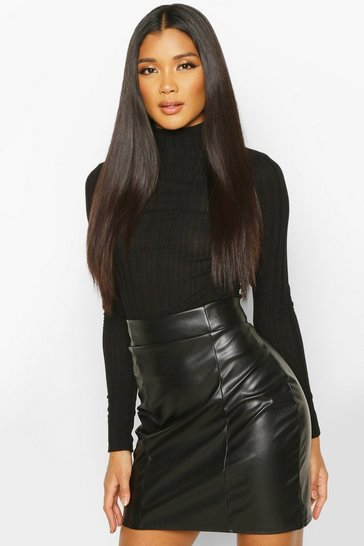Womens Black Leather Look Seam Front Mini Skirt