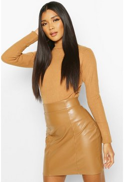 Camel Leather Look Seam Front Mini Skirt