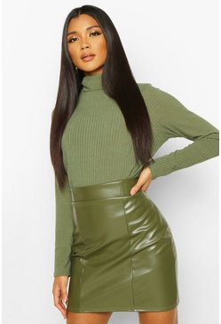Khaki Leather Look Seam Front Mini Skirt