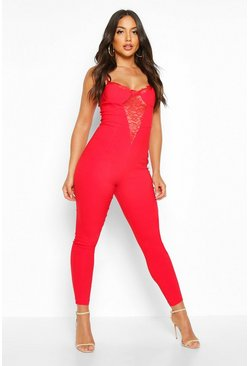 Red Lace Insert Slim Fit Stretch Jumpsuit