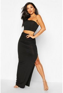 Womens Black Slinky One Shoulder Bralet & Split Maxi Skirt