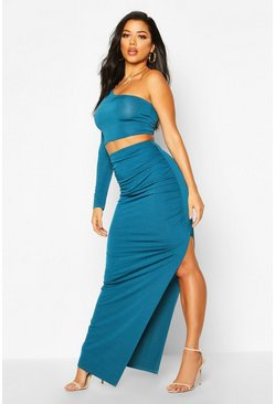Teal Slinky One Shoulder Bralet & Split Maxi Skirt