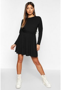 Womens Black Ribbed Belted Skater Dress