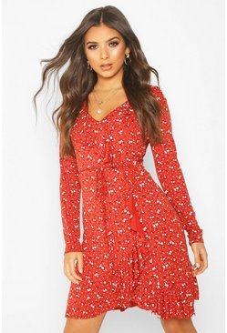 Womens Rust Ditsy Floral Long Sleeve Tea Dress
