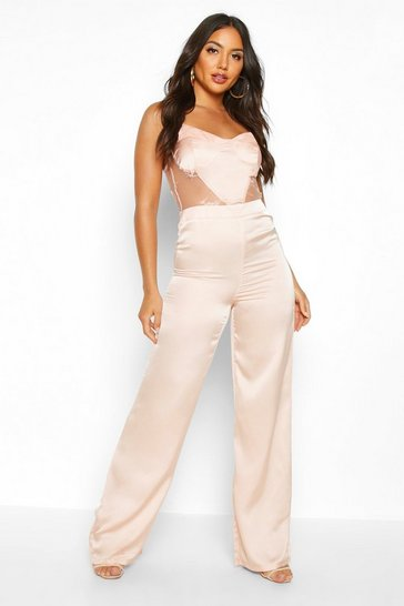 Womens Champagne Lace Insert Satin Wide Leg Jumpsuit