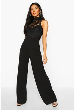 Black Lace High Neck 2 In 1 Wide Leg Jumpsuit