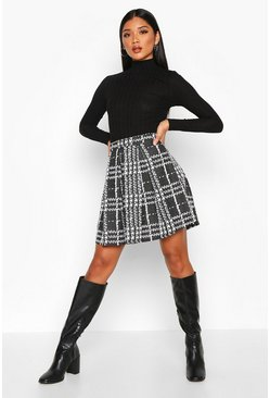 Black Boucle Jacquard Box Pleat Skater Skirt
