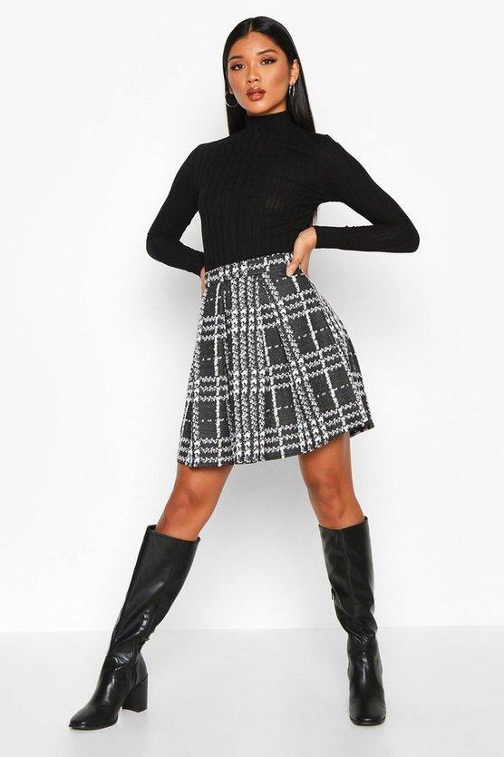 Boucle Jacquard Box Pleat Skater Skirt