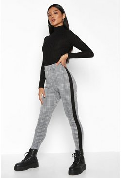 Contrast Mini Check Jacquard Treggings, Black, Donna