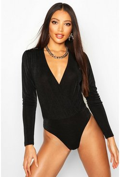 Black Textured Slinky Puff Sleeve Wrap Body