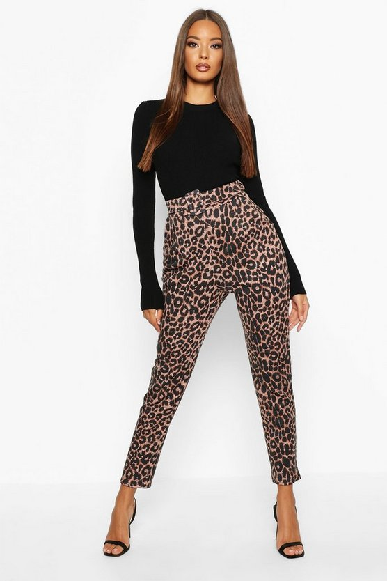 Black Leopard Belted Skinny Trousers