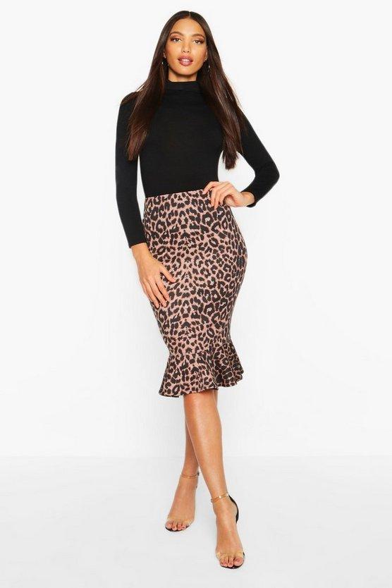 Leopard Drop Hem Midi Skirt