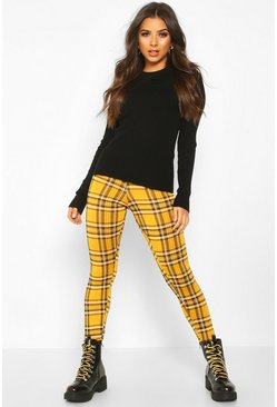 Womens Mustard Tartan Check Basic Jersey Leggings