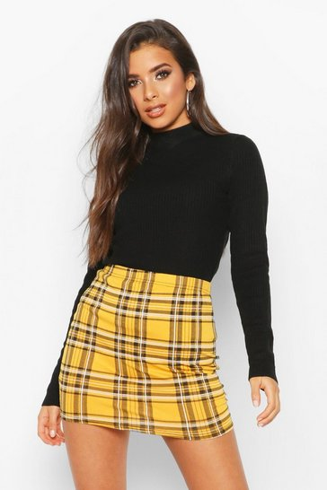 Womens Mustard Tartan Check Basic Jersey Mini Skirt