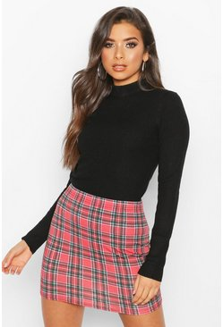 Womens Berry Tartan Check Basic Jersey Mini Skirt