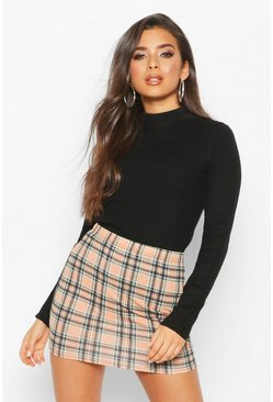 Sand Tartan Check Basic Jersey Mini Skirt