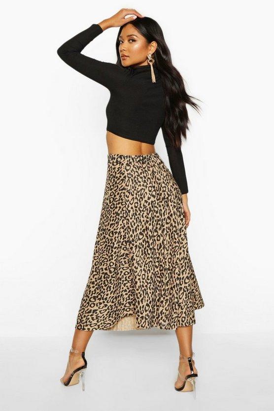 Leopard Plisse Midi Skater Skirt