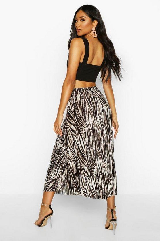 Zebra Plisse Midi Skater Skirt