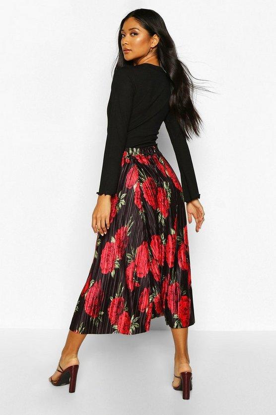 Floral Plisse Midi Skater Skirt