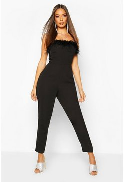 Black Feather Trim Bandeau Jumpsuit