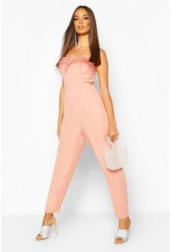 Nude Feather Trim Bandeau Jumpsuit