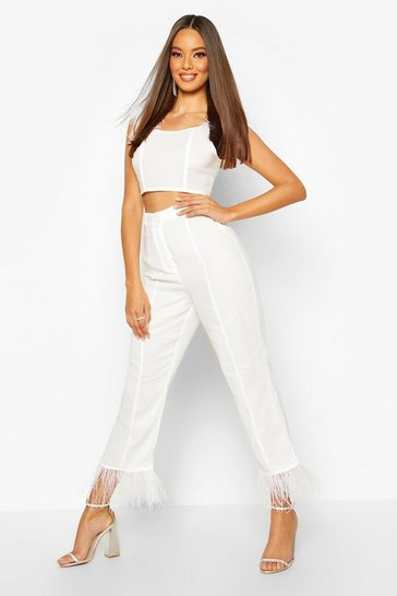 Womens White Feather Trim Woven Trouser