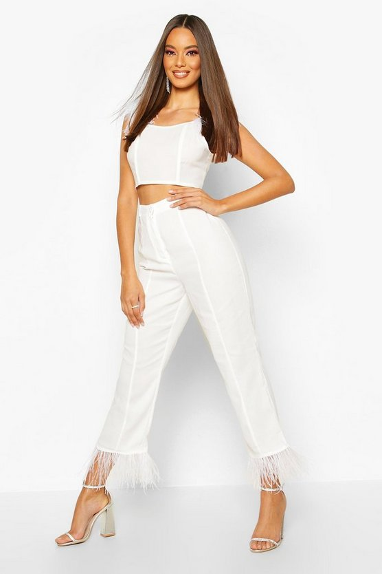 Feather Trim Woven Trouser