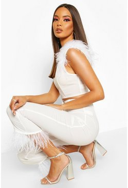 Feather Strap Woven Crop, White, Donna