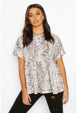 Top ancho con estampado de serpiente, Color carne