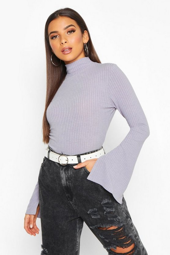 Silver grey Slit Sleeve Soft Rib Turtle Neck Top