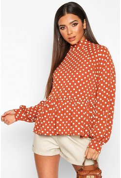 Womens Rust Polka Dot High Neck Peplum Blouse