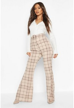 Stone Grid Check Belted Flare Pants