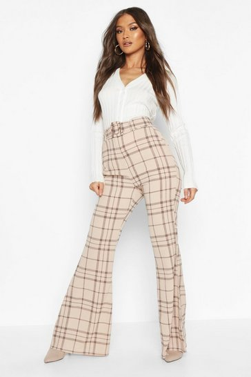 Stone Grid Check Belted Flare Trouser