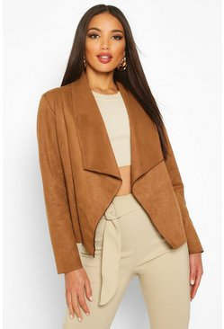 Womens Camel Faux Suede Waterfall Jacket