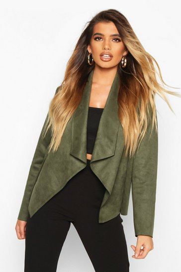 Womens Khaki Faux Suede Waterfall Jacket