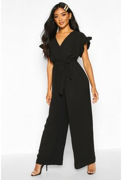 Black Ruffle Sleeve Wide Leg Jumpsuit