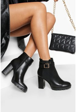 Womens Black Wide Fit Buckle Detail Shoe Boots