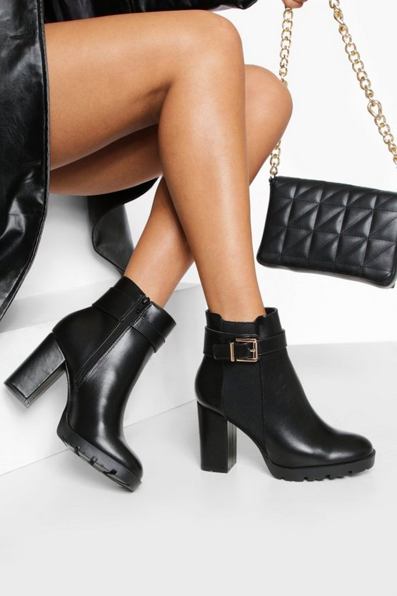 Wide Fit Buckle Detail Shoe Boots