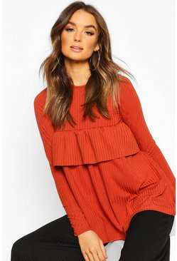 Terracotta Rib Ruffle Detail Smock Top