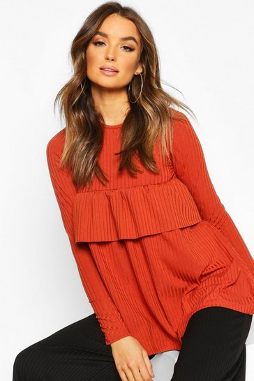 Womens Terracotta Rib Ruffle Detail Smock Top