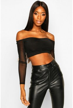 Womens Black Ruched Front Mesh Long Sleeved Crop Top