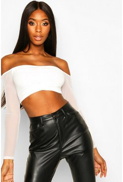 Womens Ivory Ruched Front Mesh Long Sleeved Crop Top