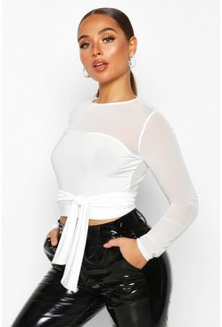 Womens White Belted Mesh Sleeve Crop