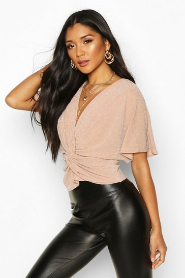 Womens Pink Metallic Knot Front Top