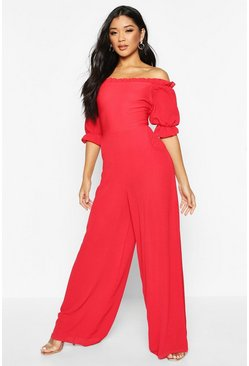 Womens Red Shirred Effect Bardot Jumpsuit With Puff Sleeves