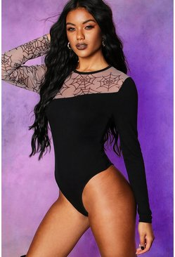 Womens Black Halloween Cobweb Mesh Cut Out Bodysuit